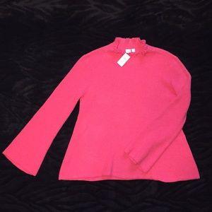 NWT GAP Sz M Tall pink knit sweater ruffle collar